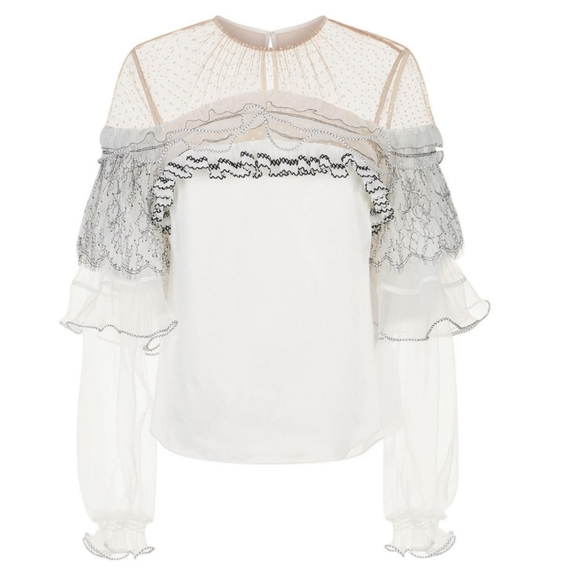 NWT Self Portrait lace frill blouse